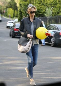 'Mad Max: Fury Road' actress Charlize Theron leaving a birthday party in Beverly Hills, California on March 22, 2014.