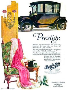 Love the bright, stylish colours in this Edwardian car ad. My mom's maiden name is Rausch--spelled slightly different though....