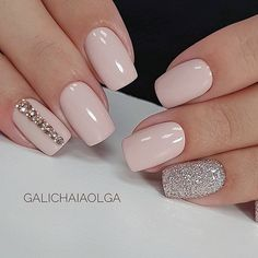 I would nix the gems - but I love the bubble/baby pink color and glam silver nail! #pinknails