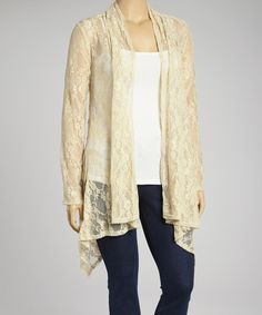 Take+a+look+at+the+CANARI+Cream+Lace+Open+Cardigan+-+Plus+on+#zulily+today!