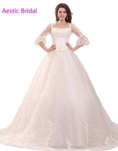 >> Click to Buy << Robe De Mariee White Ball Gown Tulle Wedding Dress With Lace 3/4 Length Sleeve Vestido Noiva #Affiliate