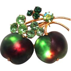 Rare Beautiful Austrian Fruit glass brooch or pin green and purple Berries