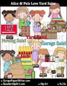 Alice Pals Love Yard Sales Clip Art, Commercial Use, Clipart, Digital Image…