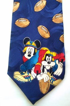 Vintage Classic Mickey Mouse and Goofy Football Men's Necktie, Retro, Rugby, Novelty Tie by KitschArts on Etsy