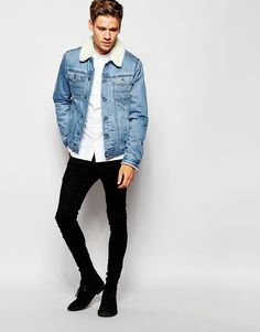 Image 4 of ASOS Denim Jacket With Borg Collar In Blue Wash
