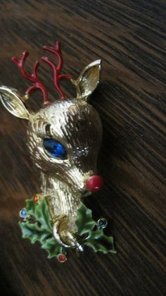 "Vintage Rudolph the Red Nosed Reindeer Brooch signed ""Art"""
