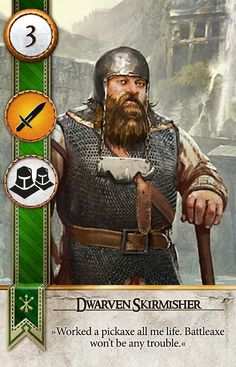 Dwarven Skirmisher (Gwent Card) - The Witcher Wild Hunt Witcher Art, Witcher 3 Wild Hunt, The Witcher 3, Fantasy Warrior, Fantasy Art, Scoia Tael, Monster List, Game Card Design, Shannara Chronicles