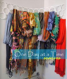 Scarf organization- I definitely need this. Scarf Organization, Home Organization, Scarf Storage, Lid Storage, Love Bookshelf, Diy Craft Projects, Diy Crafts, Fashion Room, Getting Organized