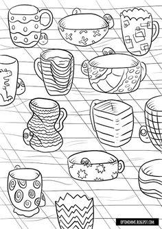OPTIMIMMI | A free printable coloring page of mugs / Ilmainen tulostettava värityskuva mukeista