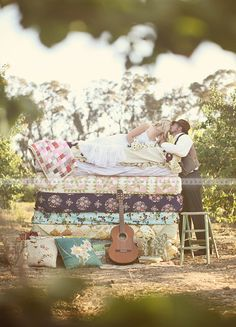 The princess and the pea engagement photo