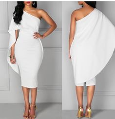 White One Shoulder Dress. Dress Outfits, Casual Dresses, Short Dresses, Fashion Dresses, Classy Dress, Classy Outfits, The Dress, Dress Skirt, One Shoulder White Dress