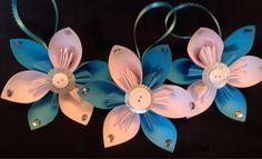 Set of 3 ice blue/white kusudama flower by TheCornerPaper on Etsy