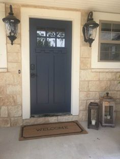 Painting your front door is one of the easiest ways to boost your curb appeal! Using the right products and picking the right door color is important! Front Door Trims, Grey Front Doors, Painted Front Doors, Front Door Colors, Front Porch, House Front, Garage Door Styles, Garage Door Design, Garage Doors