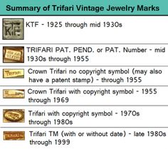 Vintage Jewelry Blog by #MyClassicJewelry - In this post we cover Vintage Trifari Jewlery Marks to help with dating!