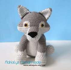 Crocheted Realistic Grey Wolf AmigurumiOOAK Ready to by AdrialysHC, $38.00