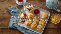 Poh's Lemonade Scones with Lemon Curd & Raspberry Coulis - Harris Scarfe Delicious Desserts, Dessert Recipes, Yummy Food, Cake Recipes, Decadent Cakes, Raspberry Lemonade, Baking Accessories, Bread And Pastries, Lemon Curd
