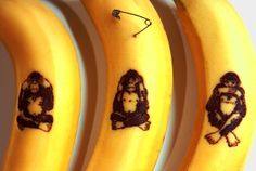 The Three Wise Monkeys - banana peel art drawn with a safety pin ... The design is dotted (poked) with the end of a safety pin and with in minuets the pokes turn a beautiful brown/blk color!  •♥•Hippie Hugs with Love, Michele•♥•