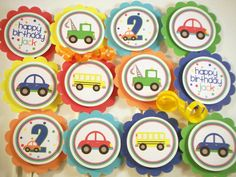 Transportation vehicles cupcake toppers cars trucks party decorations by 10 3rd Birthday Party For Boy, Third Birthday, Birthday Party Decorations, Birthday Ideas, Transportation Birthday, Party Gifts, Cupcake Toppers, Truck Cupcakes, Car Party