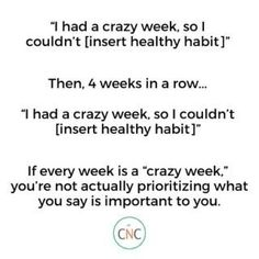 """""""I had a crazy week so I couldn't {insert healthy habit here}."""" If you find yourself saying this week after week after week, maybe your 'crazy week' isn't actually a crazy week, but is actually you not prioritizing what you say is important to you. If you keep letting life get in the way of your goals and you don't do anything to change it, you won't get the results you want. Learn how to stay the track and live the life you want. Macro Nutrition, Health And Nutrition, Cooking Green Lentils, Green Goddess Salad Dressing, Easy Peanut Sauce, Carrots N Cake, Roasted Parsnips, Macros Diet, Tough Love"""