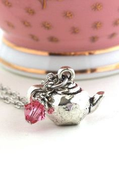 Teapot Necklace Silver Plated Charm Pink