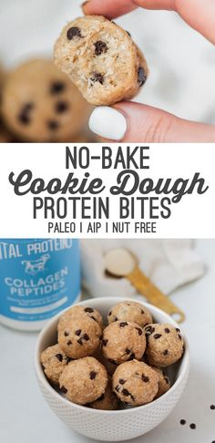 Recipes Snacks Protein These No-bake Cookie Dough Collagen Protein Bites are the perfect no-bake snack to satisfy your sweet tooth, while also adding protein. They're paleo, AIP, and gluten-free. Protein Cookie Dough, No Bake Cookie Dough, Protein Cookies, No Bake Cookies, Cookies Et Biscuits, Protein Cake, Paleo Cookies, Protein Muffins, Healthy Protein Snacks