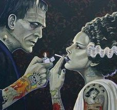 The Bride and Frankenstein Artwork by Artist Mike Bell Mike Bell, Azteca Tattoo, Dibujos Tattoo, Bell Art, Spooky Tattoos, Frankenstein's Monster, Bride Of Frankenstein, Classic Monsters, Goth Art