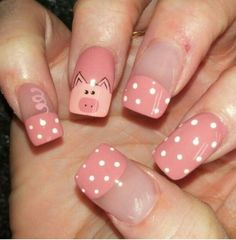New ideas nails new years pig Pig Nail Art, Pig Nails, Animal Nail Art, New Year's Nails, Hair And Nails, Cute Acrylic Nails, Cute Nails, Pretty Nails, Teacher Nail Art