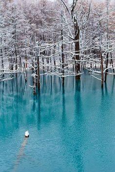 Blue Lake in Biei, Japan