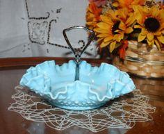 Vintage Fenton Hobnail  Blue Slag Glass Bon-Bon Candy Dish with Metal Center Handle and Ribbon Edge on Etsy, $21.99