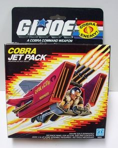 The box for the Cobra Jet Pack, depicted here with pilot Crystal Ball, released for the G.I.Joe line of toys in 1987