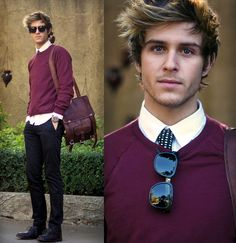 Adam Gallagher - Nordstrom Polka Dot Tie, Viparo Backpack, Super Sunglasses, American Apparel Sweater - Peeking Polka Dot | LOOKBOOK