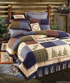 Northern Fishing Quilt & Bedding by C&F Enterprises Colchas Country, Country Quilts, Bedroom Sets, Bedroom Decor, Fish Quilt, Crochet Quilt, Boy Quilts, Quilt Bedding, Bed Spreads