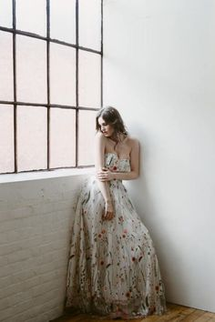 Embroidered Gown floral wedding dress prom dress