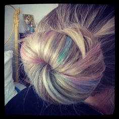 Hair chalk sock bun