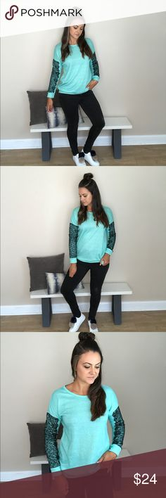 Turquoise & Lace Sweatshirt Cozy soft crew neck sweatshirt with black lace sleeve appliqué. Gorgeous dressed up or dressed down! Keep it cozy & fun this winter! 60% poly, 40% cotton Beauty And Her Bears Tops Sweatshirts & Hoodies