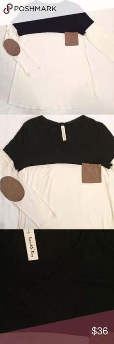 "Ivory and black long sleeve with faux suede accent Gently worn- excellent condition!! Size large- runs a bit small! I prefer to wear mediums in tops or a more relaxed fit for leggings and this fits me great! Length approximately 30"", approximately 18.5"" underarm to underarm! Bought at boutique! Vanilla Bay Tops Tees - Long Sleeve"