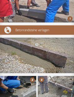 Randsteine setzen verhindert, dass das Pflaster einen Rückzieher macht. Wir demonstrieren mit Bildern, wie Betonrandsteine zu verlegen sind.