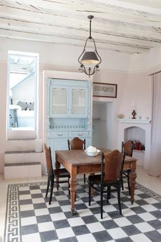 floor, love the table!, pale blue accent     Required Reading: Love, Laughter and Lunch : Remodelista