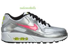 kid shoes Nike Air Max 90 FB (GS) Running Silver Grey White Pink size 4Y  #Nike #Athletic