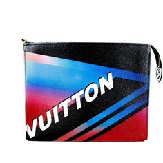 Pre-Owned Louis Vuitton Race Clutch - Noir Rose Print Black Blue Red (€845) ❤ liked on Polyvore featuring bags, handbags, clutches, black, print handbags, multi colored clutches, louis vuitton handbags, preowned handbags and multi color purse