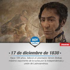 #UnDíaComoHoy 17 de diciembre de 1980 muere el libertador de América Simón Bolívar