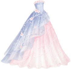 Crystal Rose can be obtained from the Achievement Star Stylist. A long, elegant ballgown with a pastel blue layer over a pastel pink layer. Dress Design Sketches, Fashion Design Drawings, Ball Dresses, Ball Gowns, Formal Dresses, Pretty Dresses, Beautiful Dresses, Kleidung Design, Fashion Drawing Dresses