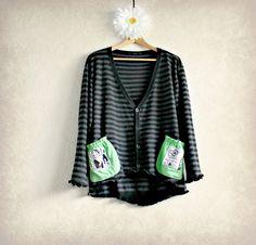 Retro Plus Size Clothing Black Cardigan 1X Women's Gray Sweater Green Pockets Eco Friendly