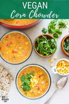 This delicious and creamy Vegan Corn Chowder Recipe is super easy to make and naturally gluten-free. Thickened with potato and natural corn starch and made creamy with coconut milk, this dairy free corn chowder is tasty and healthy. #vegan #soup #recipe #chowder #corn #cornchowder #vegetarian Tasty Vegetarian Recipes, Vegan Soups, Healthy Recipes, Vegan Corn Chowder, Freezer Friendly Meals, Chowder Recipe, Vegan Main Dishes, Gluten Free Dinner, Meal Prep Bowls