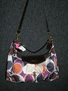Large ASHLEY purple/brown/orange Authentic Coach Purse- $299.99  Retails for $358