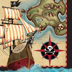 The buccaneer life be the life fer ye, so set ye table with raiding glee! Navigate birthday party splashes and spills with our Pirates Map Lunch Napkins. These decorative napkins present a pirate's sh