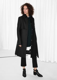 Other Stories image 1 of Wool Trenchcoat in Black