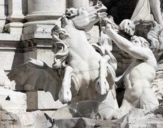 Rearing horse being led by a triton (Pietro Bracci Fountain, Rome, Italy Michelangelo Sculpture, Trevi Fountain Rome, Emperor Augustus, Museum Art Gallery, Rome Italy, Stone Art, Beautiful World, Beast, Horses