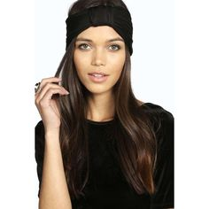 Boohoo Imogen Pleated Turban Headband ($8) ❤ liked on Polyvore featuring accessories, hair accessories, black, flower crown headwrap, turban headband, flower crown, head wrap headband and flower hair accessories