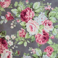 Bavlněná látka Růže velké fialově šedé Rose for You